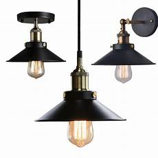 black pendant wall light black vintage industrial l shade pendant ceiling light wall light wall sconce ebay