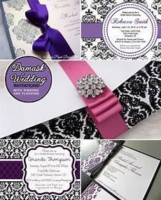 damask wedding invitations black and purple and black damask wedding invitations and an