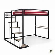 lit mezzanine 2 places avec passerelle alinea metal design