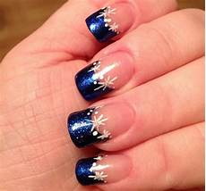 Weihnachts Nägel Motive - nails weihnachten wintermotive schnee metallic blau