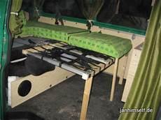wohnmobil sitzbank selber bauen vw t4 wohnmobil selbstbau bettkonstruktion