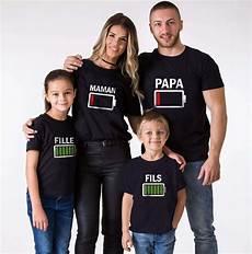 T Shirt Assortis Famille Batterie Vide Batterie Pleine