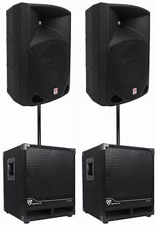 pa powered subwoofers 2 rockville rpg10 10 quot powered 600w dj pa speakers 2 subwoofers mounting poles ebay