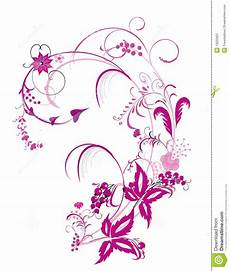 Purple Flower And Vines Pattern Stock Illustration