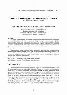 Etude Du Comportement Pdf Etude Du Comportement Du Gyrometre Acoustique En