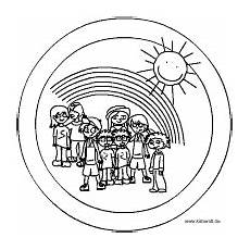 Ausmalbilder Kinder Regenbogen Menschenmandalas Im Kidsweb De
