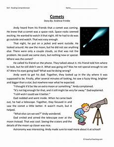 science reading comprehension worksheets 13441 third grade reading comprehension worksheet comets teaching
