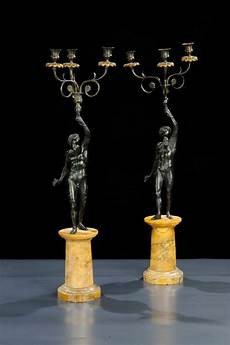 candelieri antichi coppia di candelieri in bronzo antichi a tre