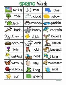 spring vocabulary list 32 words and pictures free prek spring school april preschool