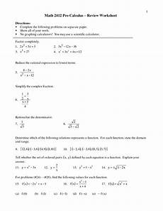 8 best images of pre calculus worksheets arithmetic and