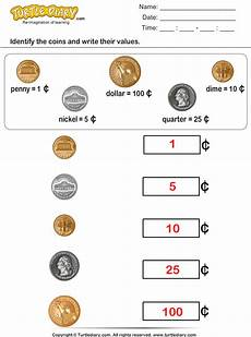money identification worksheets for kindergarten 2195 identify coins and write their values worksheet turtle diary