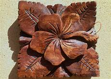 Bali Hibiscus Wood Carved Wall Hanging Balinese