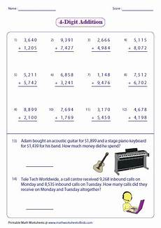 worksheets on 4 digit addition 9173 adding large numbers worksheets