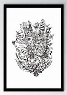 Mandala Malvorlagen Din A4 Mandala Fuchs Blume Kunstdruck Poster Ungerahmt Bild Din