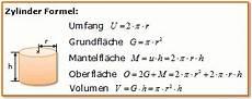 zylinder formel berechnen zylinder volumen oberfl 228 che