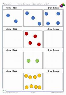 one more one less picture and number worksheets