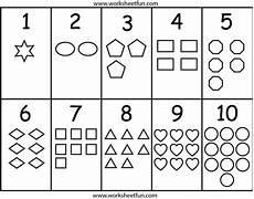 numbers shapes worksheet kindergarten worksheets free printables