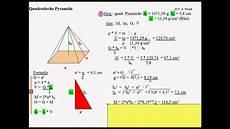 quadratische pyramide 4 aufgaben mit l 246 sungen