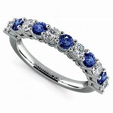eleven diamond sapphire wedding ring in platinum