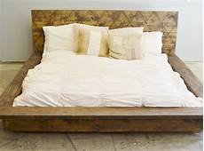 bed frame plank headboard funky rustic wood platform bed frame with patterned etsy
