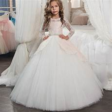 princess long sleeves lace holy communion dresses girls pageant ball gown chagne children