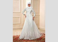 Appliques Sequins Long Sleeve Musllim Wedding Dress with