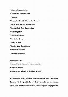 manual repair autos 1999 nissan frontier parking system 1999 nissan frontier vg service repair manual download