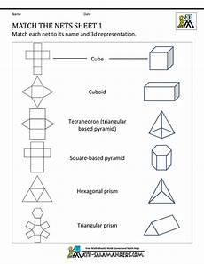 shapes worksheets year 6 1327 math nets worksheets match the nets 1 math math teaching math teaching geometry