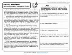 natural resources 4th grade reading comprehension worksheet