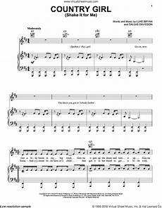 country sheet music bryan country shake it for me sheet music for voice piano or guitar