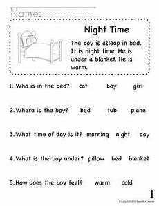 beginning readers comprehension packet for early education or special education special