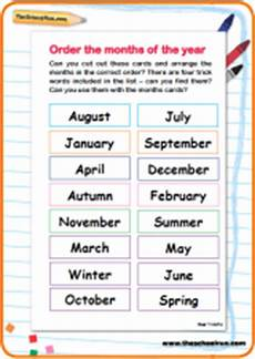 order the months of the year activity theschoolrun