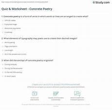 concrete poetry worksheets printable 25341 quiz worksheet concrete poetry study