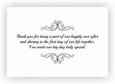 Thank You Message Wedding Gift thank you note to accompany your wedding return gift