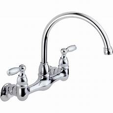 kitchen wall faucet peerless faucets two handle wall mounted kitchen faucet reviews wayfair