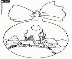 ausmalbilder landschaft in einer weihnachts kugel zum