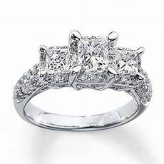3 stone diamond ring 2 ct tw princess cut 14k white gold 990839401 sterlingjewelers