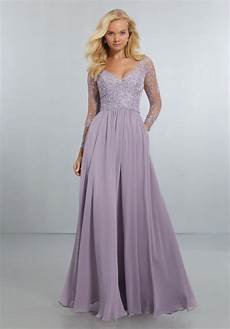 chiffon bridesmaids dress with intricately embroidered and beaded long sleeve bodice style