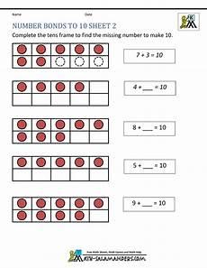 addition number bond worksheets 8792 number bonds to 10 worksheets