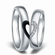 half heart wedding rings black baking finish half heart couple ring personalized love heart wedding band in 925 sterling