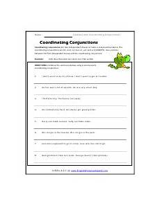 using commas with coordinating conjunctions worksheets