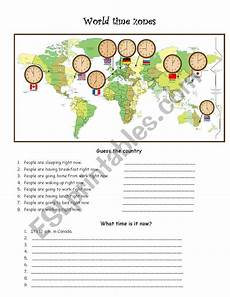 world time zones esl worksheet by pyata4ok