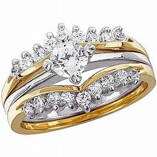 1 02 carat t g w cubic zirconia two tone wedding ring