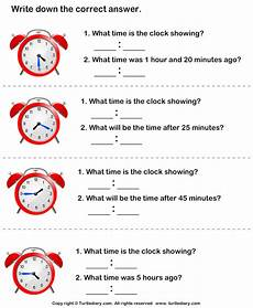 end time word problems worksheets 3410 read analog clock and find end time worksheet turtle diary