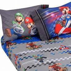 3pc super mario kart bed sheet nintendo full speed bedding accessories walmart com