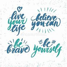 brush lettering with motivation phrases stock
