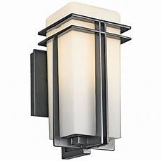 kichler modern outdoor wall light with white glass in black finish 49200bk destination lighting