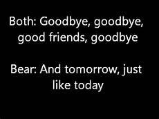 bear in the big blue house goodbye song lyrics youtube