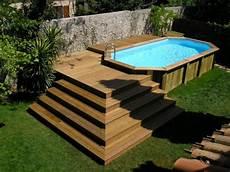 escalier bois piscine hors sol votre piscine semi enterr 233 e 30 id 233 es cr 233 atives