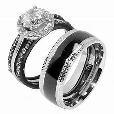 4 pcs couple rings stainless steel cz wedding ring mens matching band ebay